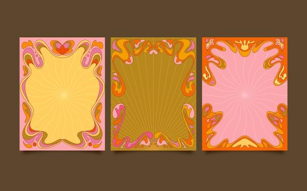 Handgetekende platte ontwerp groovy psychedelische facebook post