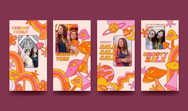 Handgetekende platte ontwerp groovy psychedelische instagramverhalen