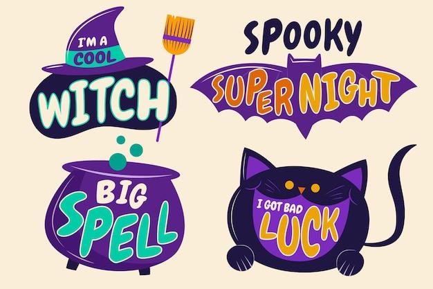 Handgetekende platte ontwerp halloween etiketten collectie