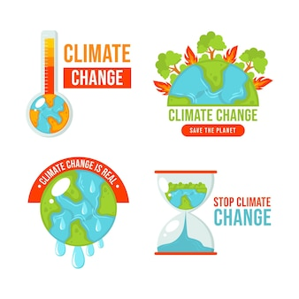Handgetekende platte ontwerp klimaatverandering badges en labels