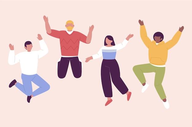 Handgetekende platte ontwerp mensen springen