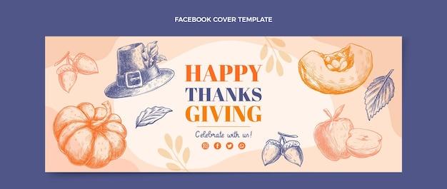Handgetekende platte ontwerp thanksgiving facebook-omslag