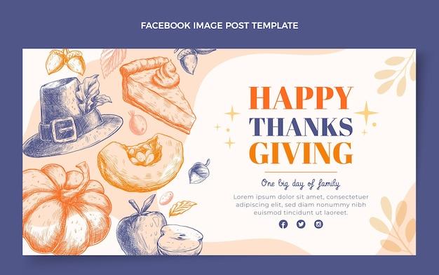 Handgetekende platte ontwerp thanksgiving facebook post