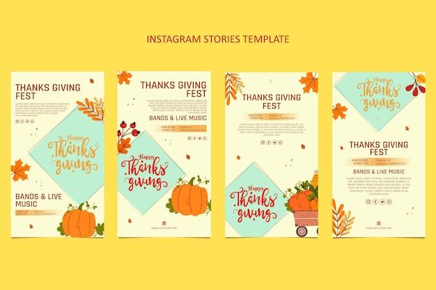 Handgetekende platte ontwerp thanksgiving ig verhalen