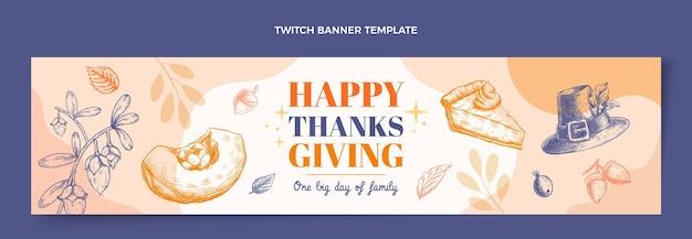 Handgetekende platte ontwerp thanksgiving twitch banner