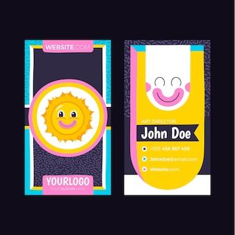 Handgetekende platte ontwerp trendy cartoon visitekaartjes