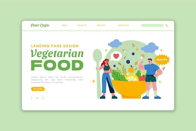 Handgetekende platte ontwerp vegetarisch eten bestemmingspagina