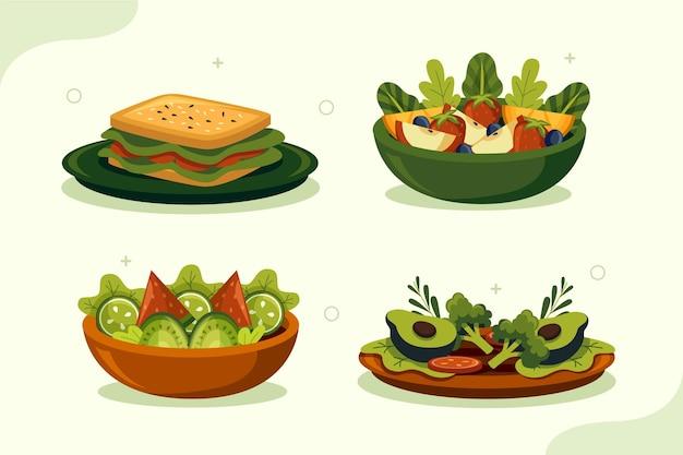 Handgetekende platte ontwerp vegetarisch eten collectie