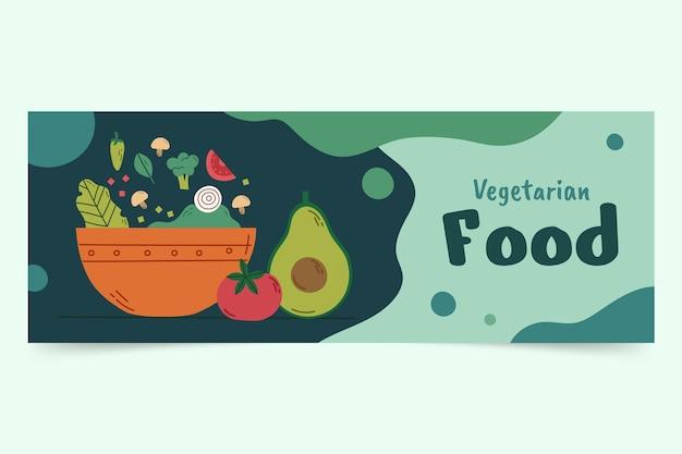 Handgetekende platte ontwerp vegetarisch eten facebook cover