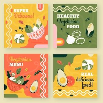 Handgetekende platte ontwerp vegetarisch eten instagram posts