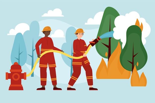 Handgetekende platte ontwerpbrandweerlieden die een brand blussen