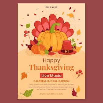 Handgetekende platte ontwerpsjabloon voor thanksgiving-posters