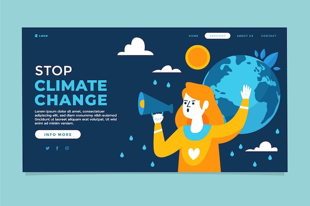 Handgetekende platte sjabloon voor bestemmingspagina's voor klimaatverandering