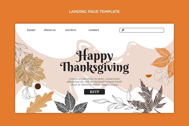 Handgetekende platte thanksgiving-bestemmingspaginasjabloon
