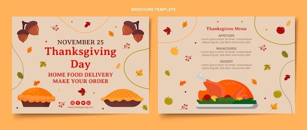 Handgetekende platte thanksgiving-brochuresjabloon