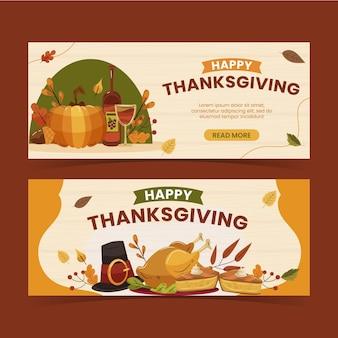 Handgetekende platte thanksgiving horizontale banners set