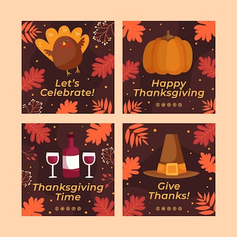 Handgetekende platte thanksgiving instagram posts collectie