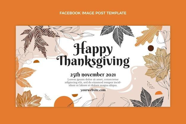 Handgetekende platte thanksgiving social media postsjabloon