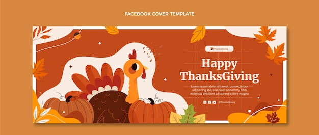 Handgetekende platte thanksgiving sociale media voorbladsjabloon