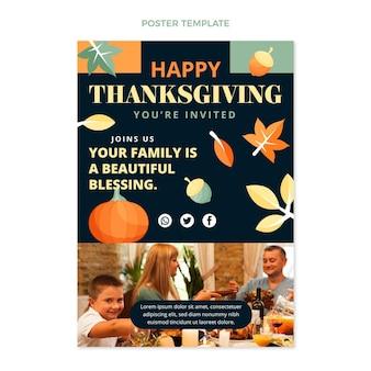 Handgetekende platte thanksgiving-uitnodigingssjabloon