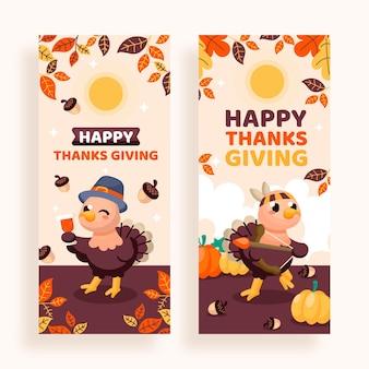Handgetekende platte thanksgiving verticale banners set