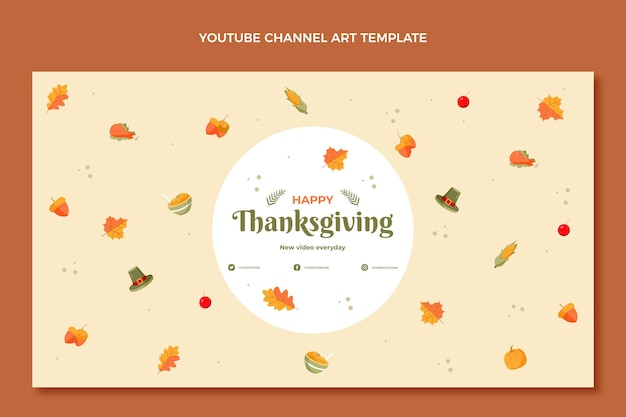 Handgetekende platte thanksgiving youtube-kanaalkunst