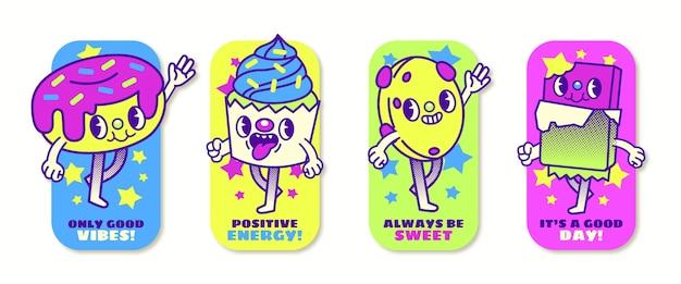 Handgetekende platte trendy cartoon badges collectie