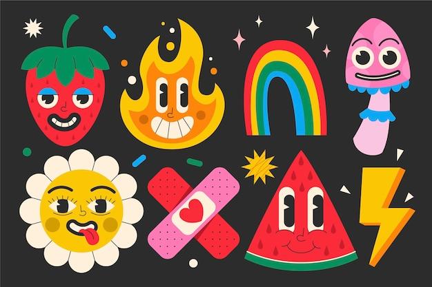 Handgetekende platte trendy cartoon-elementencollectie