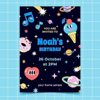 Handgetekende platte trendy cartoon verjaardagsuitnodiging