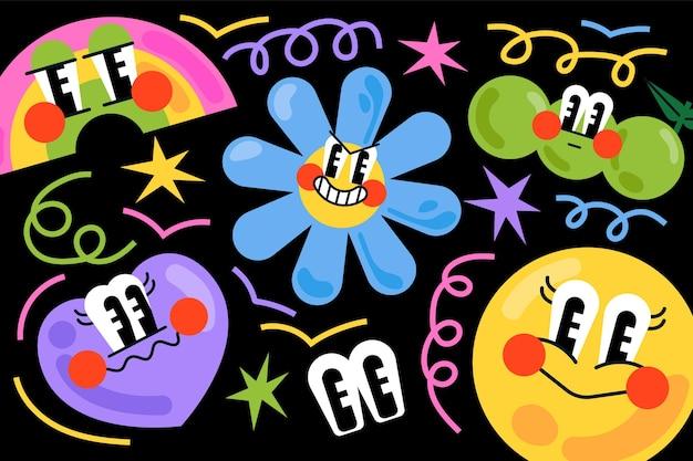 Handgetekende platte trendy cartoonachtergrond