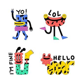 Handgetekende platte trendy cartoonlabelscollectie