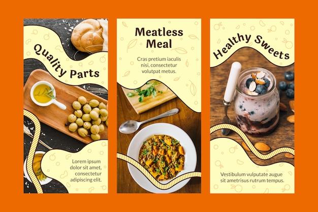 Handgetekende platte vegetarische instagramverhalen