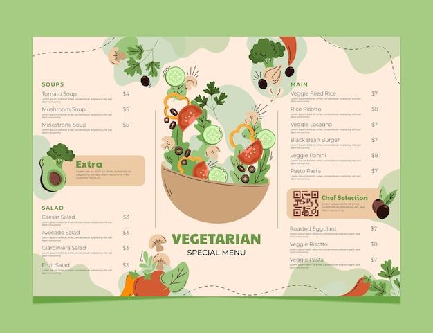 Handgetekende platte vegetarische menusjabloon