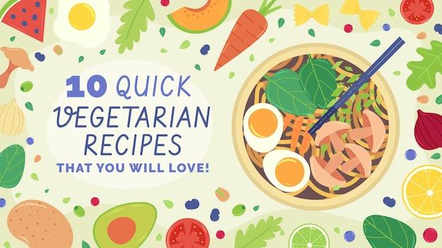 Handgetekende platte vegetarische youtube-kanaalkunstsjabloon
