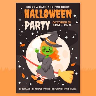 Handgetekende platte verticale flyer-sjabloon voor halloween-feest