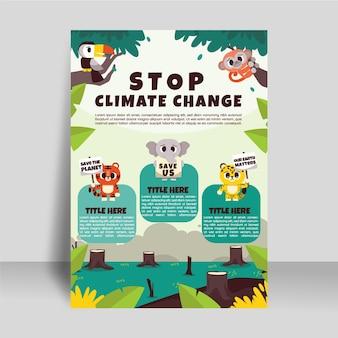 Handgetekende platte verticale flyer-sjabloon voor klimaatverandering