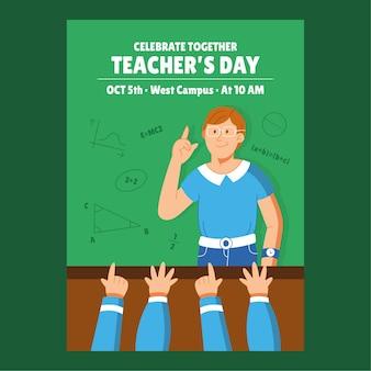 Handgetekende platte verticale postersjabloon voor lerarendag