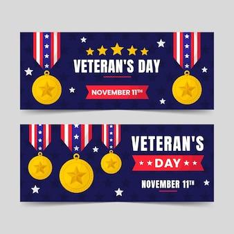 Handgetekende platte veteranendag horizontale banners set