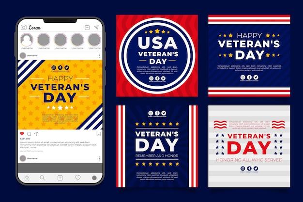 Handgetekende platte veteranendag instagram posts collectie