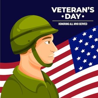 Handgetekende platte veteranendagillustratie