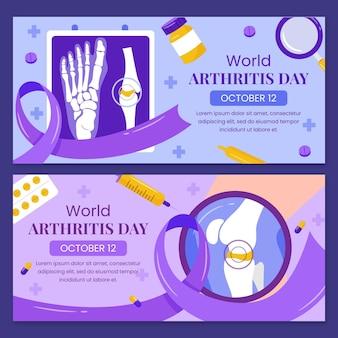 Handgetekende platte wereld artritis dag horizontale banner set