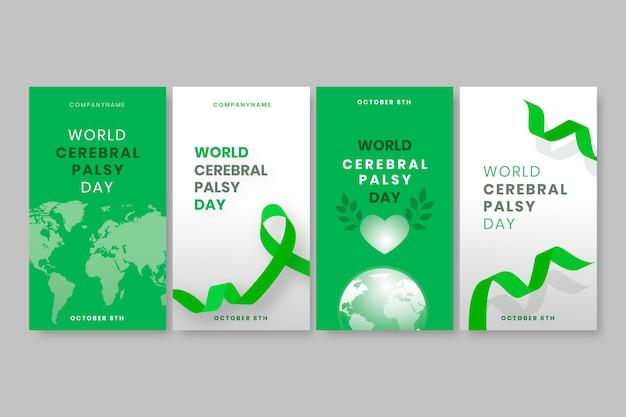 Handgetekende platte wereld hersenverlamming dag instagram verhalencollectie