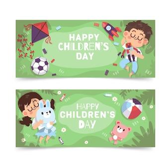 Handgetekende platte wereld kinderdag horizontale banners set