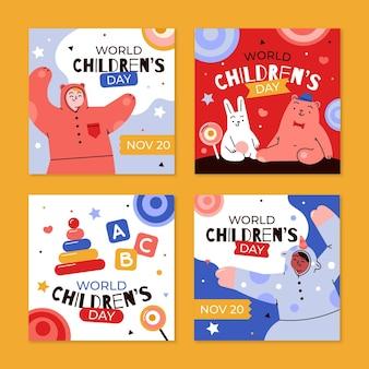 Handgetekende platte wereld kinderdag instagram posts collectie