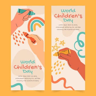 Handgetekende platte wereld kinderdag verticale banners set