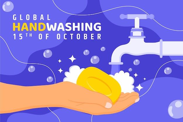 Handgetekende platte wereldwijde handwasdag achtergrond