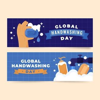 Handgetekende platte wereldwijde handwasdag horizontale banners set