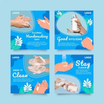 Handgetekende platte wereldwijde handwasdag instagram posts collectie
