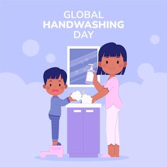 Handgetekende platte wereldwijde handwasdagillustratie