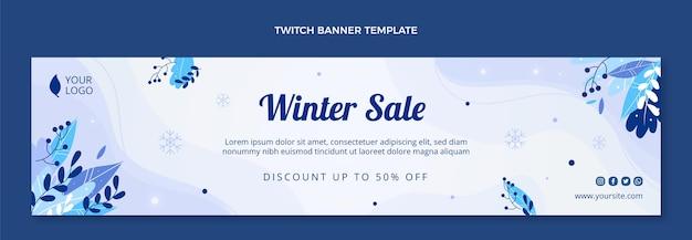 Handgetekende platte winter twitch banner